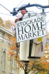 Guiseppe of the Sign Studio in Troy hanging the new sign for the Stockade Home Market - 35 N. Ferry St. in the Schenectady NY Stockade - 20Oct2011