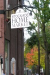 a view west up Front St. from the Lawrence Circle and the just-hung sign for new Stockade Home Market - 35 N. Ferry St. in the Schenectady NY Stockade - 20Oct2011