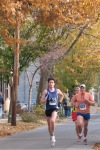 runners 365 and 627 nearing the Lawrence Circle at the halfway point of the race in the Schenectady Stockade  - Stockade-athon 2011 - 13Nov2011