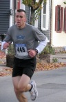 runner #448 entering the Lawrence Circle at the halfway point of the race in the Schenectady Stockade  - Stockade-athon 2011 - 13Nov2011