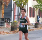 runner #14 entering the Lawrence Circle at the halfway point of the race in the Schenectady Stockade  - Stockade-athon 2011 - 13Nov2011