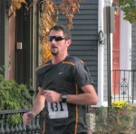 runner #431 nearing the Lawrence Circle at the halfway point of the race in the Schenectady Stockade  - Stockade-athon 2011 - 13Nov2011