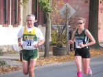 runners 23 & 2_ entering the Lawrence Circle at the halfway point of the race in the Schenectady Stockade  - Stockade-athon 2011 - 13Nov2011