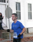 runner 163 about to enter the Lawrence Circle at the halfway point of the race in the Schenectady Stockade  - Stockade-athon 2011 - 13Nov2011