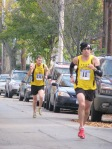 runners 11 & 1311 (of Team Utopia) entering the Lawrence Circle at the halfway point of the race in the Schenectady Stockade  - Stockade-athon 2011 - 13Nov2011