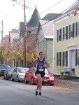runner #1543 about to enter the Lawrence Circle at the halfway point of the race in the Schenectady Stockade  - Stockade-athon 2011 - 13Nov2011