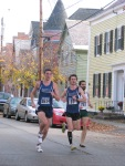 runners 1614, 10 and 753 entering the Lawrence Circle at the halfway point of the race in the Schenectady Stockade  - Stockade-athon 2011 - 13Nov2011