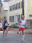 runners 856 & 750 about to enter the Lawrence Circle at the halfway point of the race in the Schenectady Stockade  - Stockade-athon 2011 - 13Nov2011