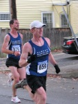runners #659 & 379 entering the Lawrence Circle at the halfway point of the race in the Schenectady Stockade  - Stockade-athon 2011 - 13Nov2011