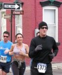 Stockade-athon 2011 runners turning the corner onto Washington Ave. at Front St. - Schenectady NY Stockade - 13Nov2011