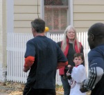 Devin and Laurie cheer on runners in the Stockade-athon 2011 on Front St. in the Schenectady NY Stockade - 13Nov2011