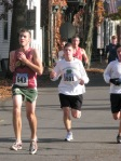Stockade-athon 2011 runners nearing Lawrence Circle on Front St. - Schenectady NY Stockade - 13Nov2011