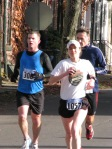 Stockade-athon 2011 runners at Lawrence Circle - Schenectady NY Stockade - 13Nov2011