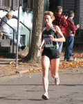 2011 Stockade-athon contestant #615 runs into the sunlight at the Lawrence Circle - Schenectady NY Stockade - 13Nov2011