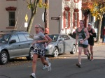 Stockade-athon 2011 runners passing Lawrence Circle on Front St. - Schenectady NY Stockade - 13Nov2011