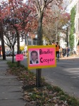 fictional signs for Stockade-athon 2011 say Bradley Cooper slept on Front St. - Schenectady NY Stockade - 13Nov2011