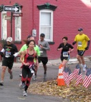 a group of Stockade-athon 2011 runners turn the corner at Washington Avenue - Schenectady NY Stockade - 13Nov2011
