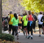 runners heading south on Washington Ave in the Schenectady NY Stockade - Stockade-athon 2011 - 13Nov2011