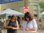 Mary D'Allessandro (R) and friend at the 61st Stockade Outdoor Art Show - 08Sep2012