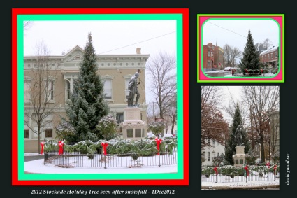collage with the 2012 Stockade Holiday Tree and Lawrence shown after a light snowfall - Schenectady NY Stockade - 1Dec2012