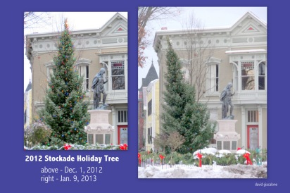 comparison of the 2012 Stockade Holiday Tree - upright & listing