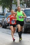 2011 champion Jodi Roberson, #3, about to pass #1747 (James O'Connor) on Front St. near the halfway point - Schenectady NY Stockade - Stockade-athon 2012 - 11Nov2012
