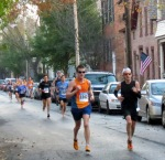 runner #1042 (Richard Messeneo) and others on Front St. - Schenectady NY Stockade - Stockade-athon 2012 - 11Nov2012