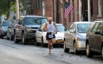 runner 1627 (William Venner) approaches Lawrence Circle halfway point - Schenectady NY Stockade - Stockade-athon 2012 - 11Nov2012