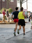 runners enter Lawrence Circle heading west on Front St. - Schenectady NY Stockade - Stockade-athon 2012 - 11Nov2012