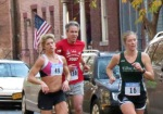 runners #16 (Shelly Binsfield) and 49 (Kristin White) on Front St.  - Stockade-athon 2012 - Schenectady NY Stockade - 11Nov. 2012