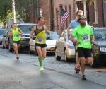 runners 482 (Craig Dubois), 639 (Daniel Gracey), 1139 (Grant Norton) on Front St.  - Stockade-athon 2012 - Schenectady NY Stockade - 11Nov. 2012