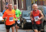 runners # 45, 1617, 580 on Front St. - Stockade-athon 2012 - Schenectady NY Stockade - 11Nov. 2012
