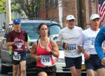 runners #630, 316 & 1064 look determined near the halfway point on Front St. - Stockade-athon 2012 - Schenectady NY Stockade - 11Nov. 2012