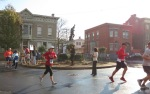 runners pass the Circle of Lawrence the Indian, the halfway point of the race - Schenectady NY Stockade - Stockade-athon 2012 - 11Nov2012