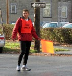 volunteer traffic guard at Front St. and N. Church St. - Schenectady NY Stockade - Stockade-athon 2012 - 11Nov2012