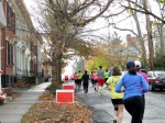 runners heading south on Washington Ave. Schenectady NY Stockade - Stockade-athon 2012 - 11Nov2012