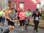 runners turning onto Washington Ave. from Front St. Schenectady NY Stockade - Stockade-athon 2012 - 11Nov2012