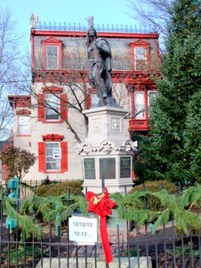 statue of Lawrence the Indian in his circle -  N. Ferry at Front Sts. - Schenectady NY Stockade - 12:12 pm on 12/12/2012