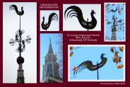 a collage of photos of the weathervane rooster atop St. George's Episcopal Church - Schenectady NY Stockade - 30Nov2012