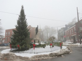 foggy morning view south up N. Ferry St. from the statue of Lawrence the Indian - Schenectady NY Stockade - 12Jan2013 11AM