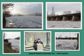collage of photos taken around 4 PM along Riverside Park at the Mohawk River with ice floes - Schenectady NY - 31Jan2013