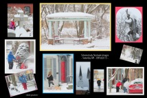 collage of Stockade neighborhood images after a snowfall - Schenectady NY about 9 AM