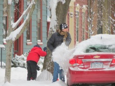 Dale and Owen Miller on Green St. helping to shovel out a neighbor -  Schenectady NY Stockade - about 9 AM 09Feb2013