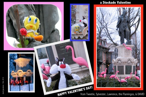 Stockade Valentine wishes for 2013 - featuring flamingos, Lawrence, Tweetie and Sylvester