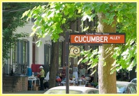 the Cucumber Alley streetsign with Stockade Sidewalk Sale participants in the background - 04Jun2011
