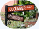 street signs for Cucumber Alley at Washington Avenue - Schenectady NY Stockade - 10Sept2010