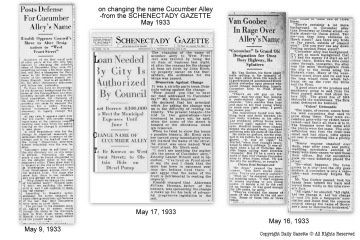 collage with three contemporary articles from the Schenectady Gazette discussing the change of the name of Cucumber Alley to West Front Street in May 1933 (all right reserved, Gazette Newspapers ©)