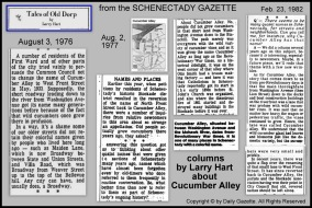 a collage showing excerpts from Tales of Old Dorp columns by Larry Hart in the Schenectady Gazette about Cucumber Alley