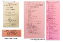 excerpts from the 1933 Manning Directory for Schenectady and Scotia, showing Washington Ave. and West Front Street (Cucumber Alley)