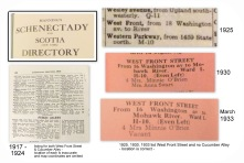 Manning Schenectady Directories-1918-1925-1930-1933 showing West Front St. or Cucumber Alley listings